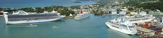 Cruise lines at Castries port